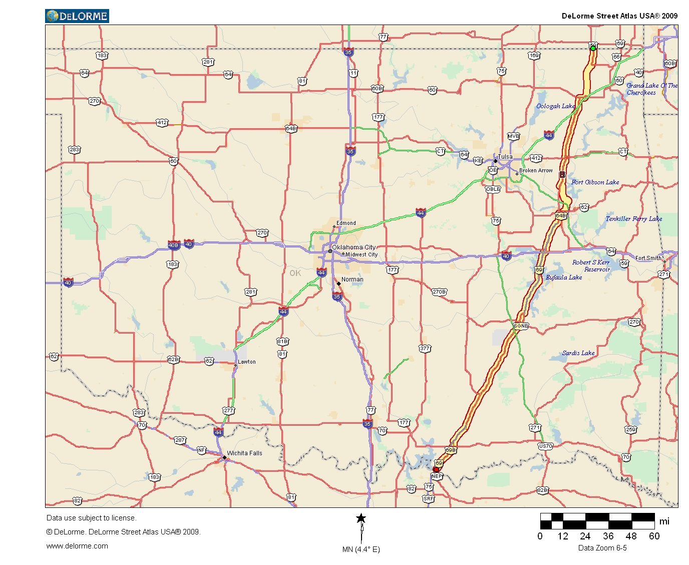 State Map Of Kansas And Oklahoma.Oklahoma Highways Original Oklahoma Route 6