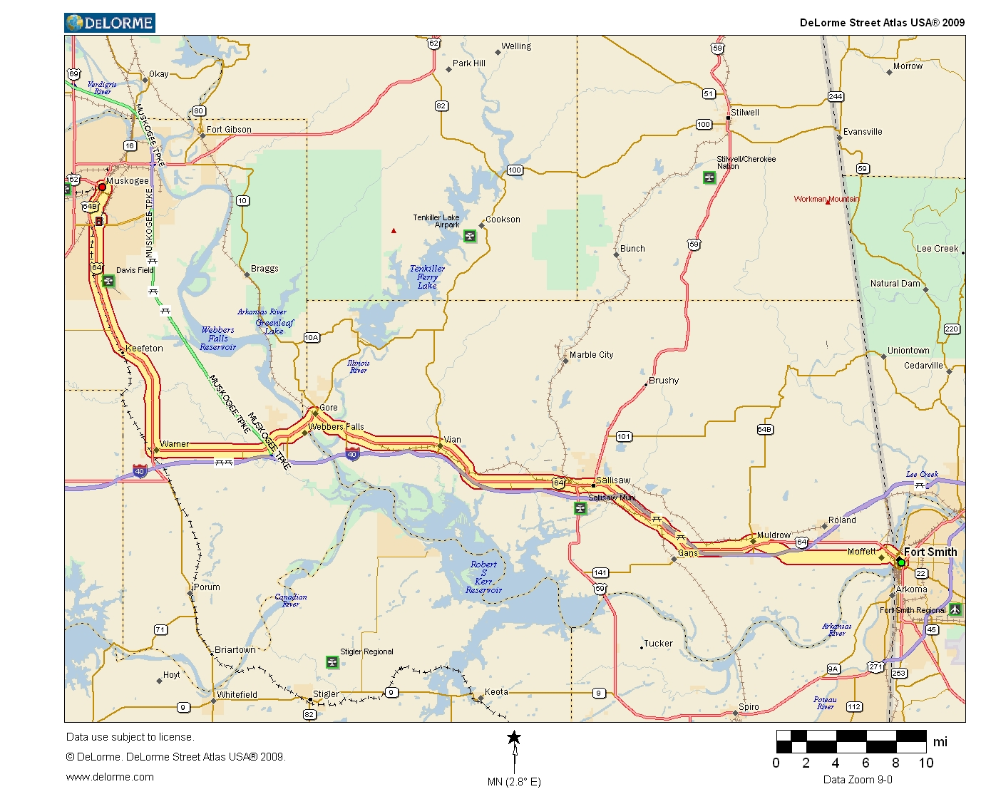 Map Of Us 64 Oklahoma Highways   US Route 64   Fort Smith, AR to Muskogee