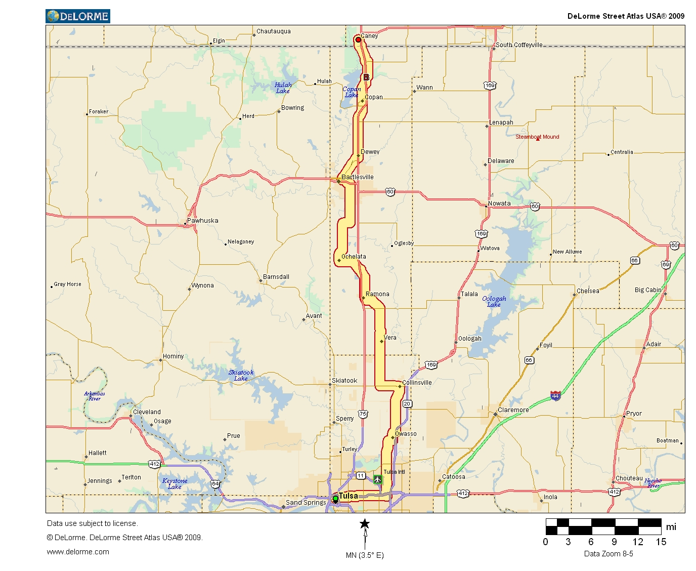 Oklahoma highways us route 75 tulsa to caney ks overview map click for larger version sciox Choice Image